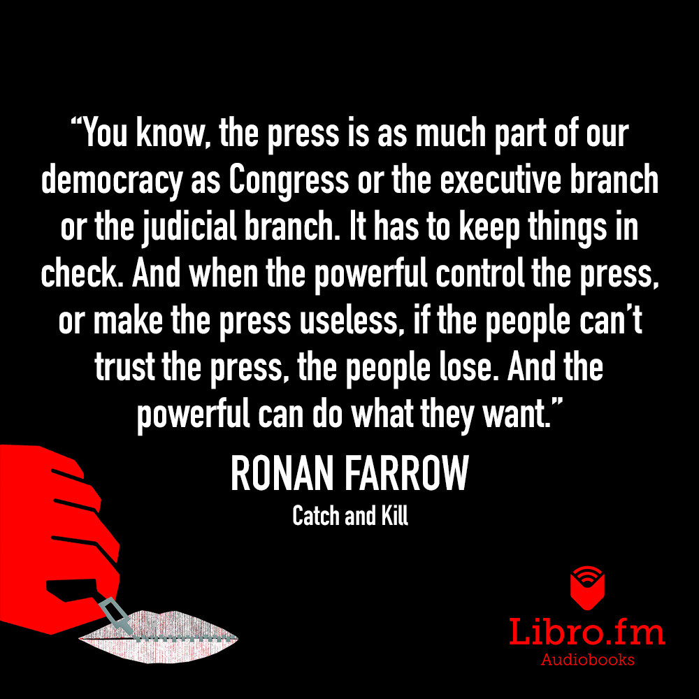 You know, the press is as much part of our democracy as Congress or the executive branch or the judicial branch. It has to keep things in check. And when the powerful control the press, or make the press useless, if the people can't trust the press, the people lose. And the powerful can do what they want.